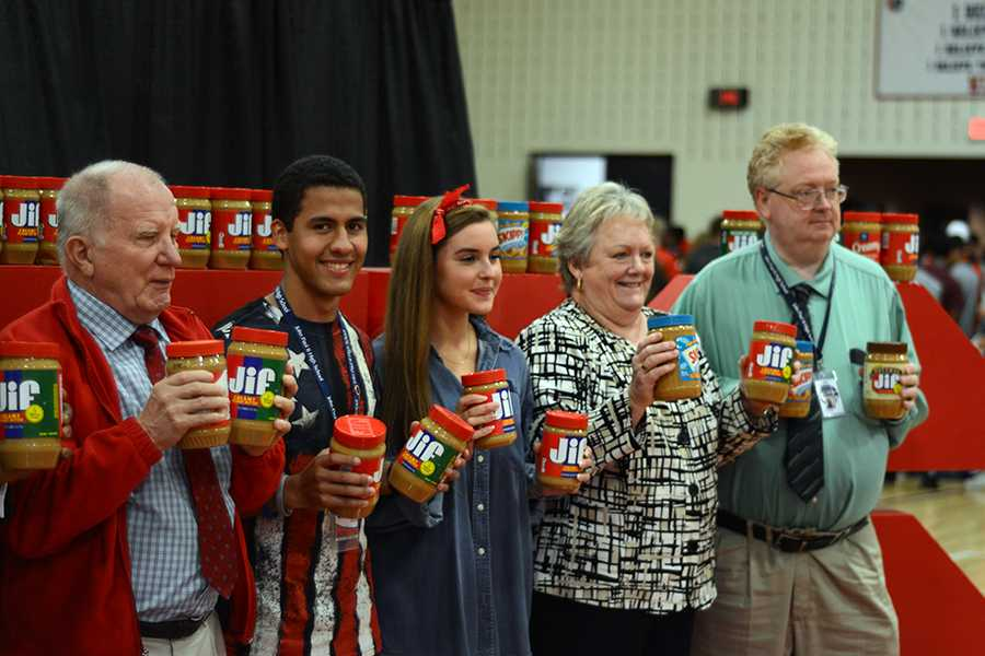 Mr. Schram, Mrs. Borland and Mr. Philp's classes were top donors in the peanut butter drive.