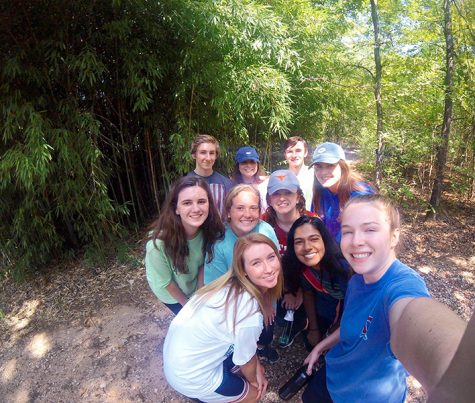 Seniors spent their free time during the retreat exploring the campsite.